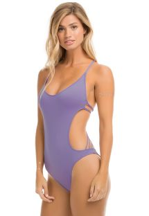 Mauve trikini macamé back with shell decoration - SHELL MACRAME LAVENDER