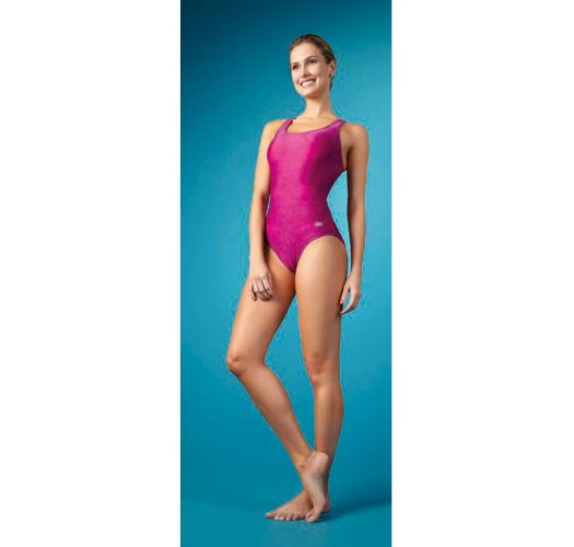 Розовый спортивный слитный купальник со спинкой-борцовкой - MAIO NADADOR PINK