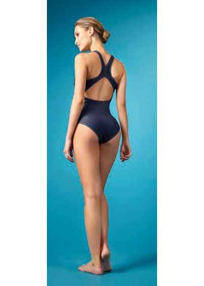 One-piece swimsuit racerback grey with coloured print - MAIO SILK GRAFITE