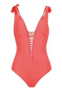Fluorescent red one-piece swimsuit with dual neckline - IBIZASWIM NEON RED