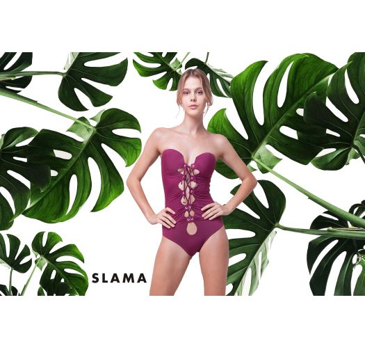 Luxurious front laced pink one-piece swimsuit - EYELET LAMBADA