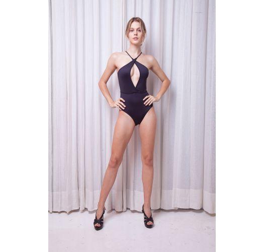 Schwarzer Luxus-Badeanzug, Tropfendekolletee - NEOPRENE BLACK