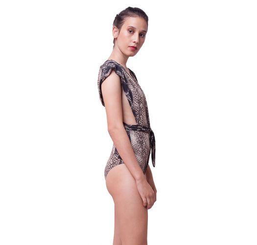 Ausgeschnittener Badeanzug mit Reptil-Print - STRIPED SNAKE BLACK