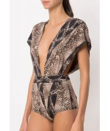 Plunging one-piece swimsuit with reptile print - STRIPED SNAKE BLACK