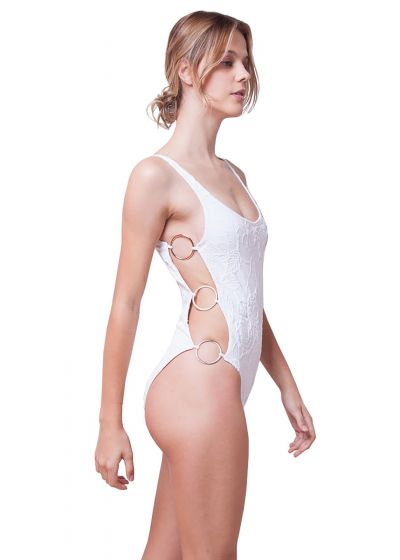 Luxurious one-piece swimsuit with decorative side rings - TEXTURED FLOWERS WHITE