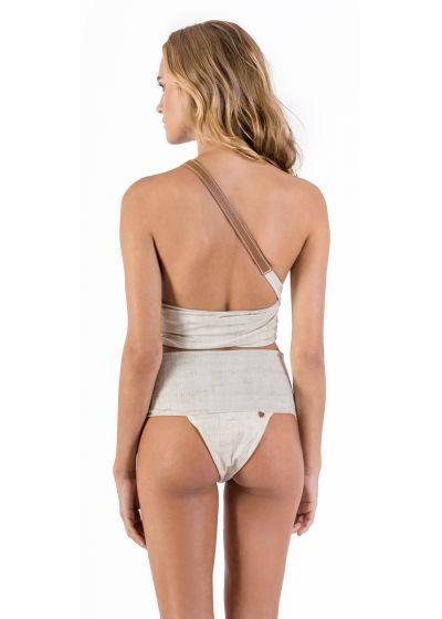 Asymmetric linen one-piece swimsuit with leather details - MAIÔ PAREÔ LIGHT LINEN