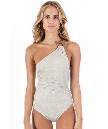 Asymmetric linen one-piece swimsuit with leather details - MAIO PAREO LIGHT LINEN
