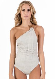 Asymmetric linen one-piece swimsuit with leather details - MAIÔ PAREÔ LIGHT LINEN