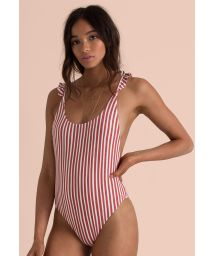 White & red stripes one-piece swimsuit - DOS PALMAS MULTI