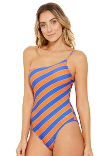 Blue and orange asymmetrical one-piece swimsuit - ALBATROZ CAYENA