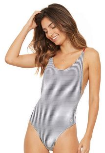 Stripped one-pice swimsuit with red stripes - AXE LISTRADO