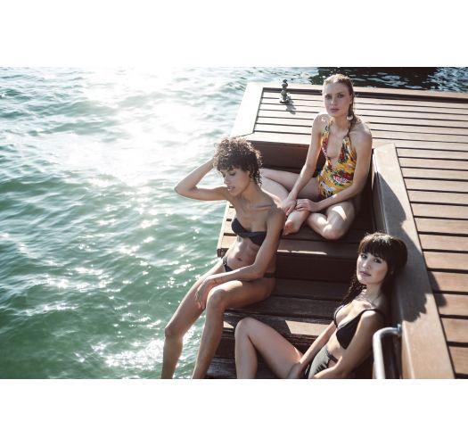 Yellow one-piece swimsuit with plunging neckline - BIJU XANGAI
