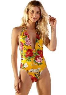 Yellow one-piece swimsuit with plunging neckline - BIJU XANGAI