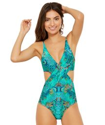Blue plunging monokini - peacock print - BLUES FANTASTIC
