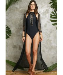 Black one-piece swimming costume with high collar and lacing - BODY AMETISTA PRETO
