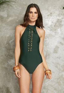 Green high-neckline one-piece swimsuit with lacing - BODY AMETISTA VERDE
