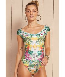 Pastel floral print bodysuit with cap sleeves - BODY MARAVILHA