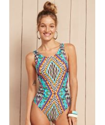 Multi-strap one-piece swimsuit in a graphic print - CAPRI