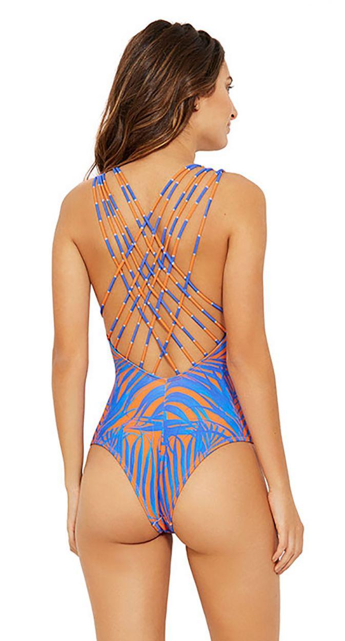 Blue and orange strappy back swimsuit - CAPRI CAYENA