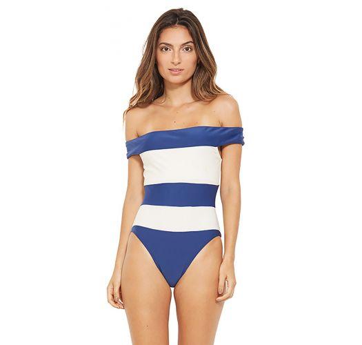 בגד ים ללא כתפיות עם פסים בצבעים לבן וכחול - CARMEM AZUL FURACAO