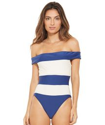 White and blue stripped off-shoulder swimsuit - CARMEM AZUL FURACAO