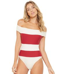 White and red stripped off-shoulder swimsuit - CARMEM BRANCO PEROLA