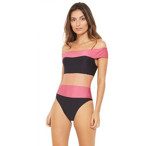 Bikini de rayas tricolores hombros descubiertos - CARMEM PRETO
