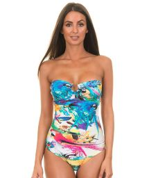 Multicoloured one-piece swimwear with jewel - CHARME FLY