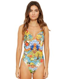 Colorful tank one-piece swimsuit - DELTA HEMISFERIO