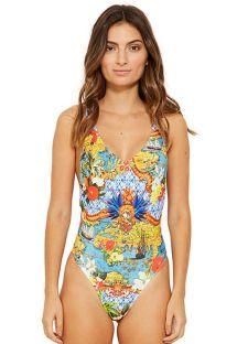 Colorful tank one-piece swimsuit - DELTA HEMISFERIO