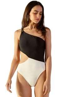 Asymmetrical two-tone one-piece swimsuit with cutout - ENSEADA LISO BICOLOR