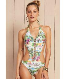 Pastel floral print trikini with lace-up front - FOLHAS DE OUTONO