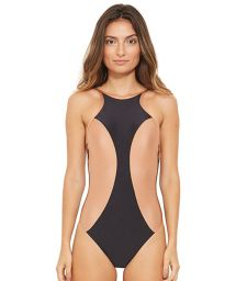Bicolor high-neck one-pice swimsuit - FOLK PRETO