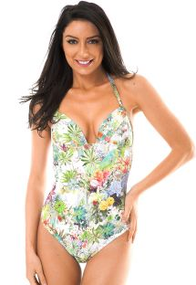 Colourful floral padded one-piece swimsuit - GARDEN MAIO LOTUS
