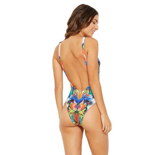 Ausgeschnittener Badeanzug mit Tropenprint - GOTAS ESPLENDOR