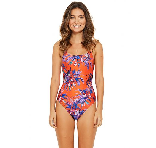 184f62dde7 Floral One-piece Swimsuit In Orange And Blue - Hip Hop Noturnella ...