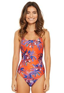 Floral one-piece swimsuit in orange and blue - HIP HOP NOTURNELLA