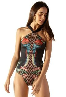 Black one-piece swimsuit with high neckline and tropical pattern - ILHÓS GAYA