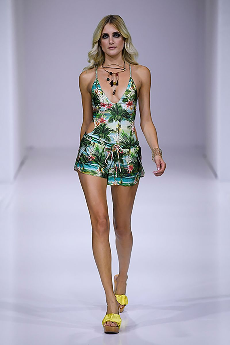Back laced swimsuit in tropical vintage print - LOLLIPOPS ISLA