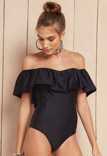 Black ruffled off the shoulder one-piece swimsuit - MAIO BABADO