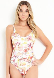 White one-piece swimsuit with colorful  print - MAIO BEACH