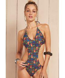 Multicoloured parrot print Brazilian trikini - MAIO BOMBOM