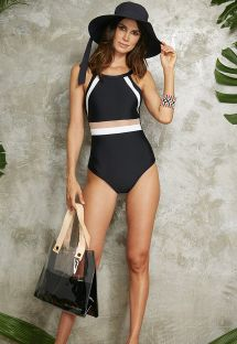Black/white one-piece swimsuit with transparency - MAIO BOOMERANG