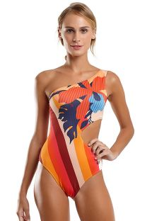 Asymmetric one-piece swimsuit with colorful stripes & flowers - MAIO CHIC HAVANA