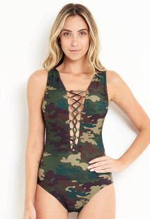 One piece swimsuit in khaki camouflage color - MAIO ESMERALDA