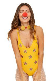 Слитный купальник желтого цвета со звездами и глубоким вырезом - MAIO ESTRELINHA CARNAVAL