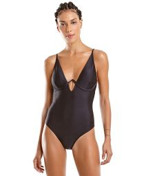 Black one-piece swimsuit with V-neckline - MAIO FOX PRETO