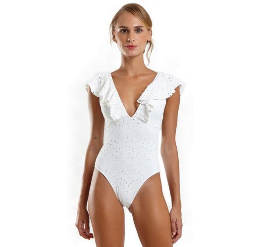 White lace one-piece swimsuit with ruffles - MAIO HULA LAISE BRANCO