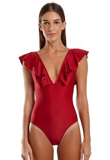 Red one-piece swimsuit with ruffle neckline - MAIO HULA VERMELHO