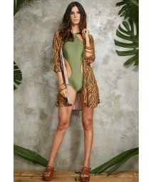 Khaki green trikini satin fabriceyelet detail - MAIO ILHOS